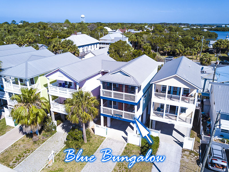 aerial photo of the Blue Bungalow building