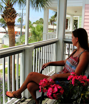 girl relaxing on the private balcony